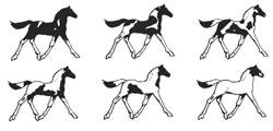 Patrons et codes couleurs chevaux Pinto tobiano